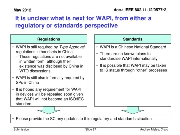 It is unclear what is next for WAPI, from either a regulatory or standards perspective