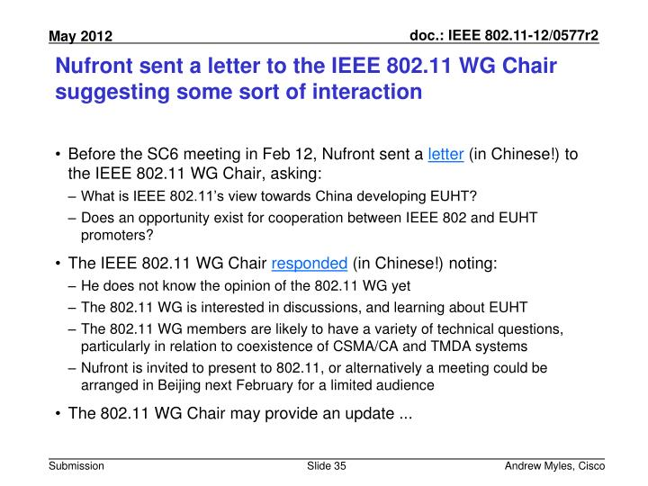 Nufront sent a letter to the IEEE 802.11 WG Chair suggesting some sort of interaction