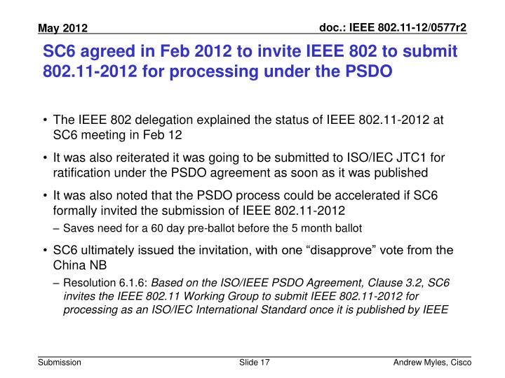 SC6 agreed in Feb 2012 to invite IEEE 802 to submit 802.11-2012 for processing under the PSDO