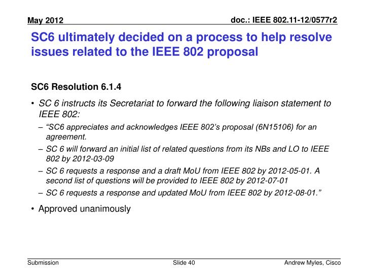 SC6 ultimately decided on a process to help resolve issues related to the IEEE 802 proposal