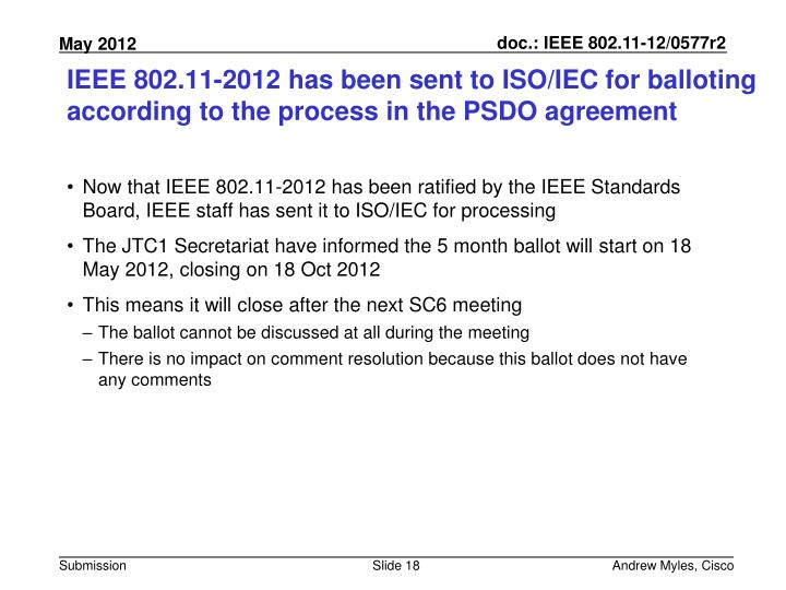 IEEE 802.11-2012 has been sent to ISO/IEC for balloting according to the process in the PSDO agreement