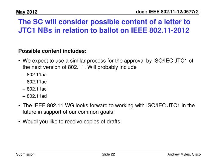 The SC will consider possible content of a letter to JTC1 NBs in relation to ballot on IEEE 802.11-2012