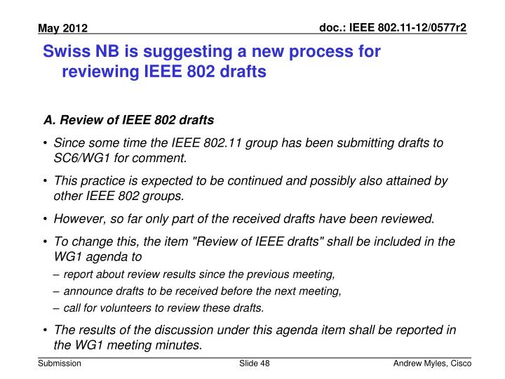 Swiss NB is suggesting a new process for reviewing IEEE 802 drafts