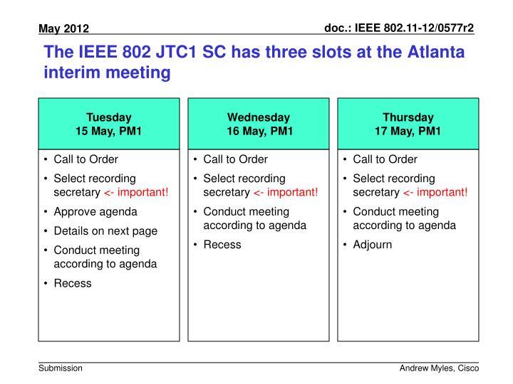 The IEEE 802 JTC1 SC has three slots at the Atlanta interim meeting