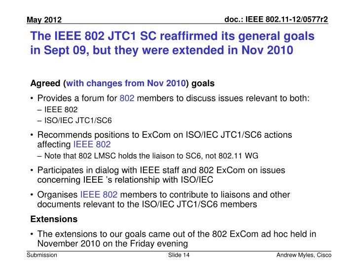 The IEEE 802 JTC1 SC reaffirmed its general goals in Sept 09, but they were extended in Nov 2010