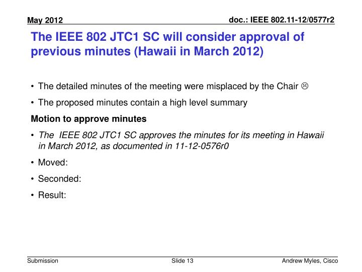 The IEEE 802 JTC1 SC will consider approval of previous minutes (Hawaii in March 2012)