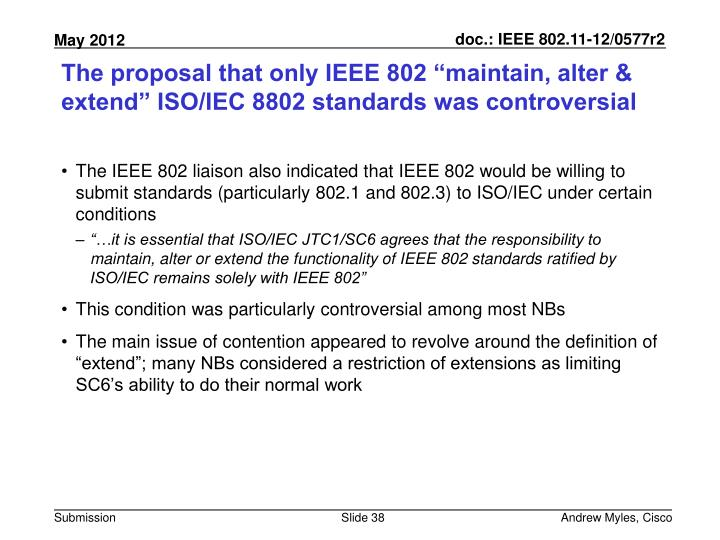 "The proposal that only IEEE 802 ""maintain, alter & extend"" ISO/IEC 8802 standards was controversial"