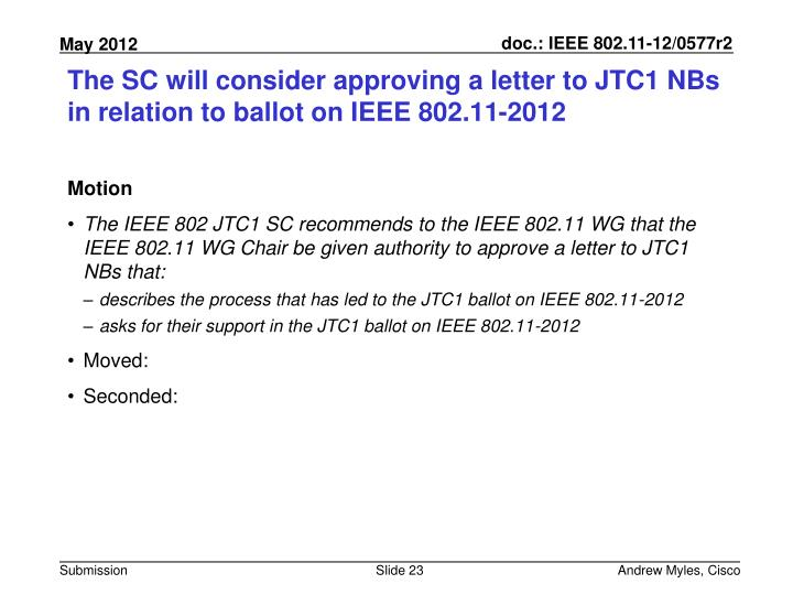 The SC will consider approving a letter to JTC1 NBs in relation to ballot on IEEE 802.11-2012