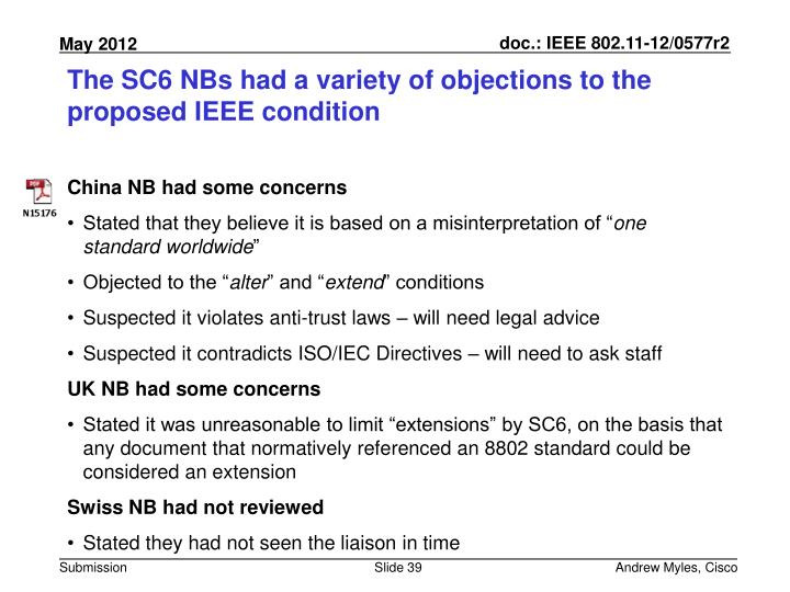 The SC6 NBs had a variety of objections to the proposed IEEE condition