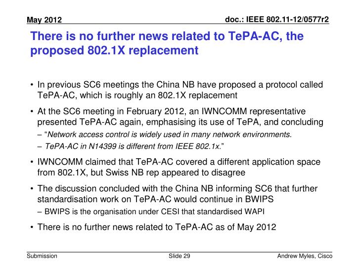 There is no further news related to TePA-AC, the proposed 802.1X replacement