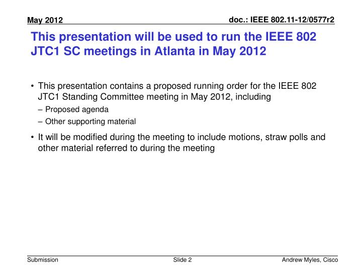 This presentation will be used to run the ieee 802 jtc1 sc meetings in atlanta in may 2012
