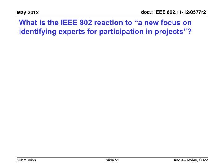 "What is the IEEE 802 reaction to ""a new focus on identifying experts for participation in projects""?"