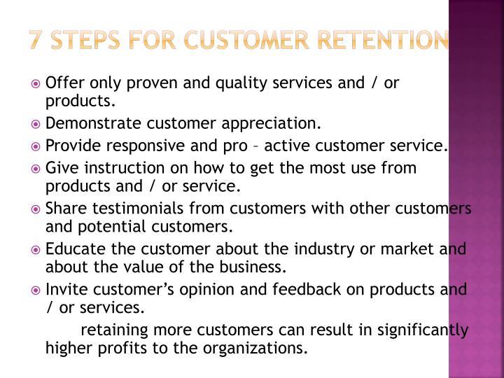 7 steps for customer retention