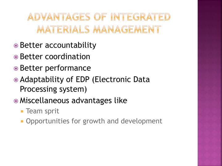 Advantages of integrated materials management