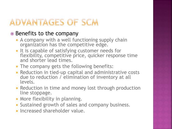 Advantages of SCM