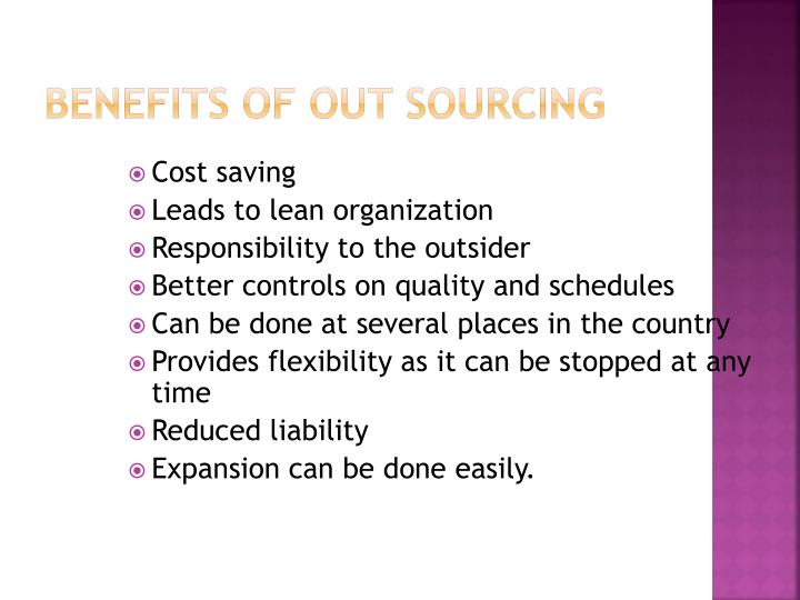 Benefits of out sourcing