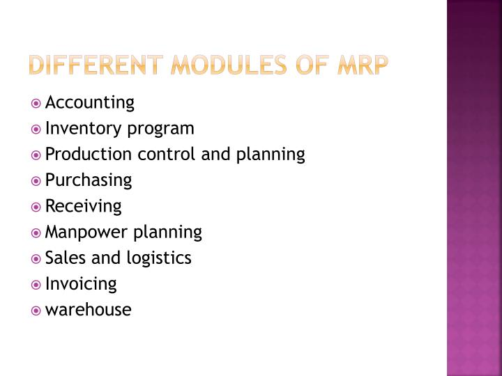 Different modules of MRP
