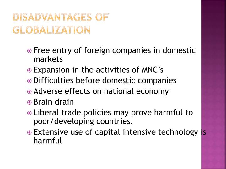 Disadvantages of globalization