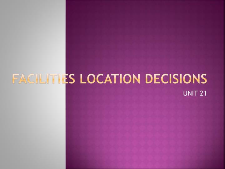 Facilities location decisions