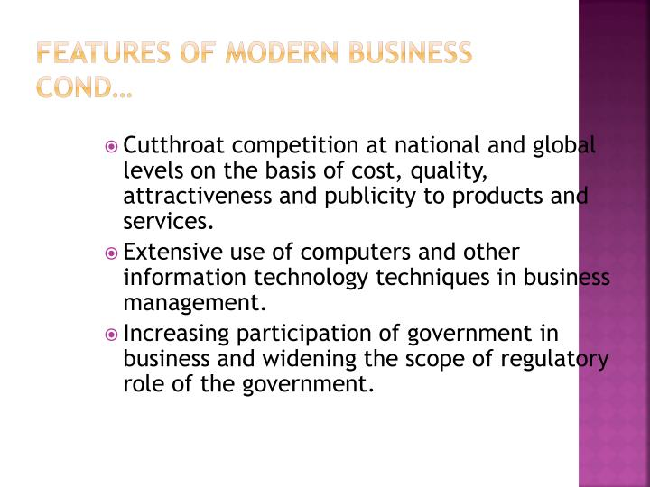 Features of modern business cond…