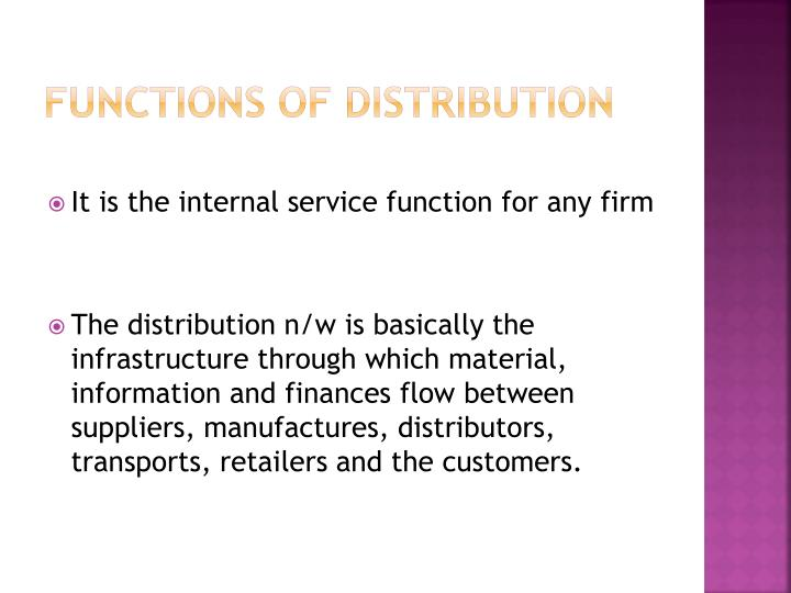 Functions of distribution