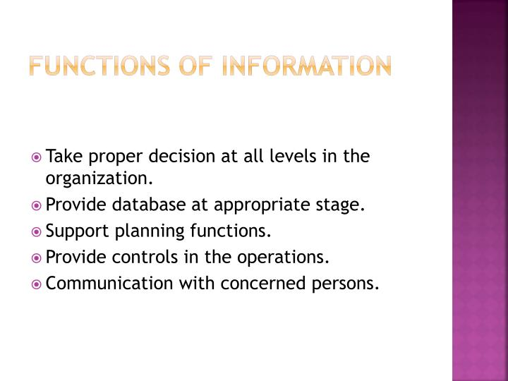 Functions of information