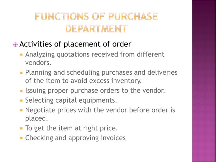 Functions of purchase department
