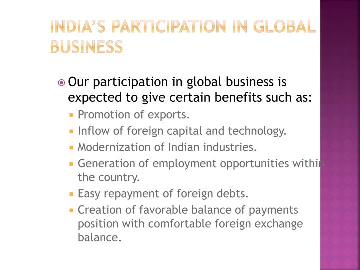 India's participation in global business