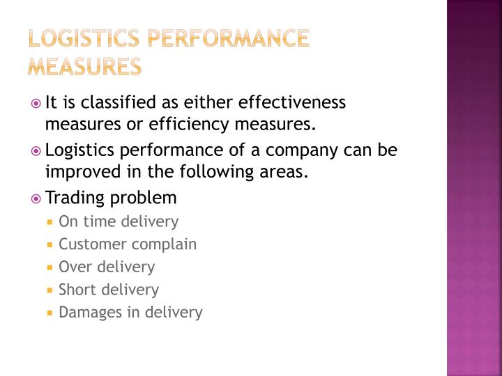 Logistics performance measures