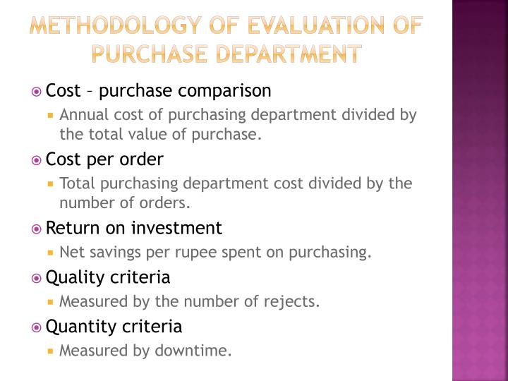 Methodology of evaluation of purchase department
