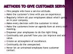 methods to give customer service