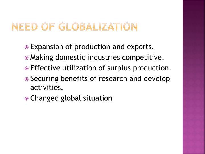 Need of Globalization