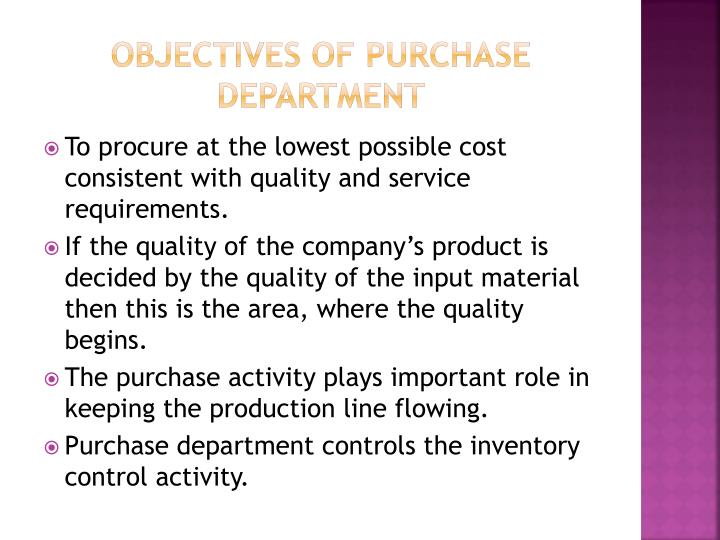 Objectives of purchase department