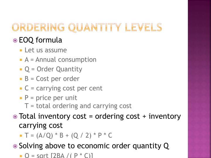 Ordering quantity levels