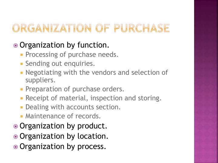 Organization of purchase