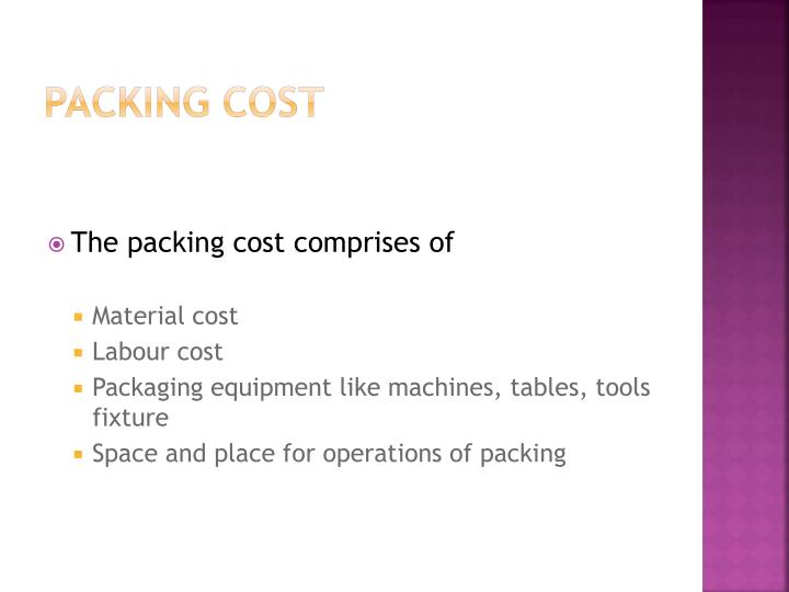 Packing cost