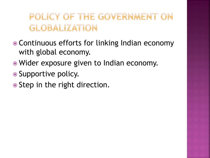 Policy of the government on globalization