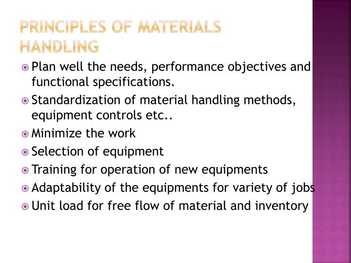 Principles of materials handling