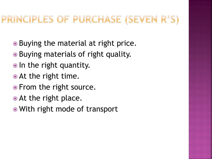 Principles of purchase (seven