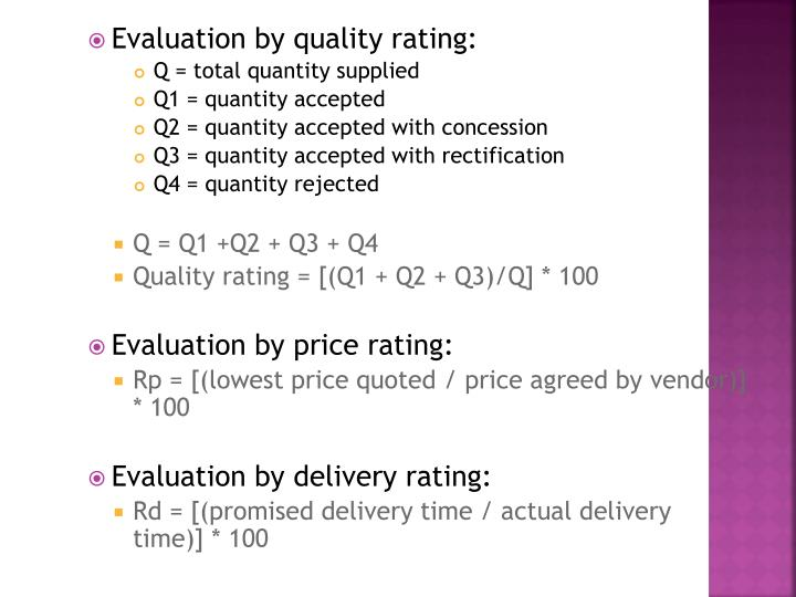 Evaluation by quality rating: