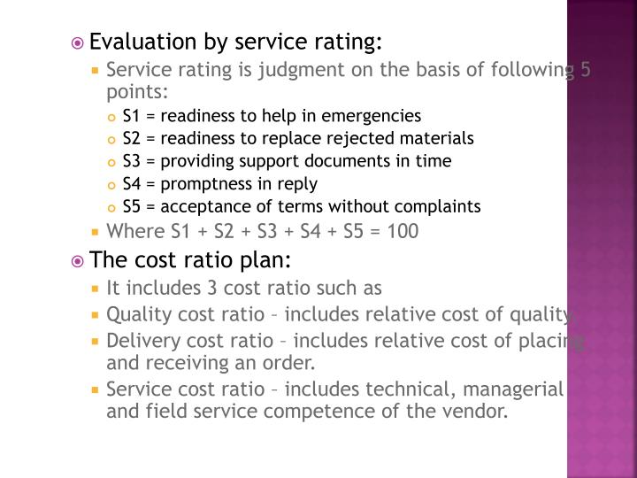 Evaluation by service rating: