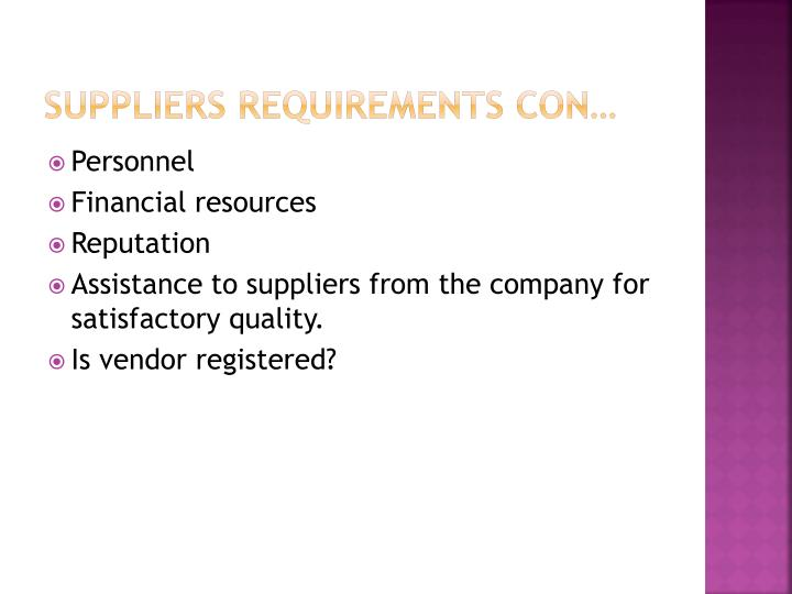 Suppliers requirements con…