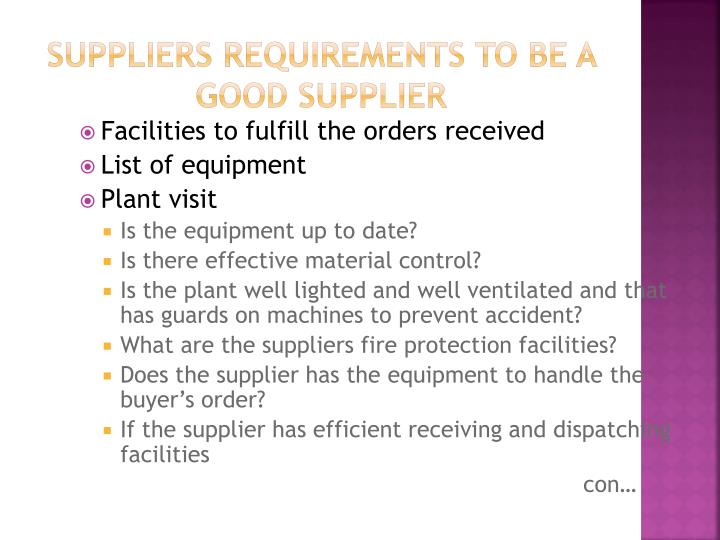 Suppliers requirements to be a good supplier
