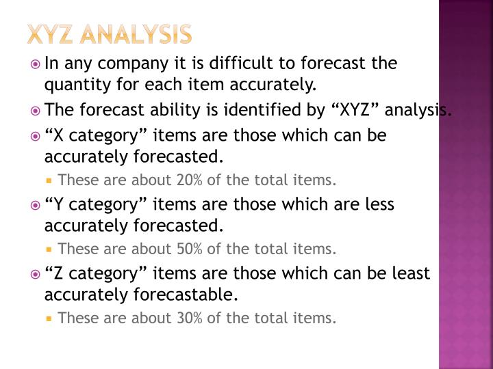 XYZ Analysis