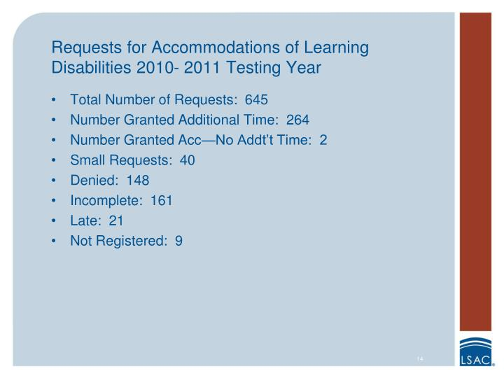 Requests for Accommodations of Learning Disabilities 2010- 2011 Testing Year