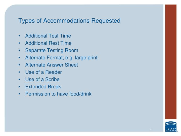 Types of Accommodations Requested