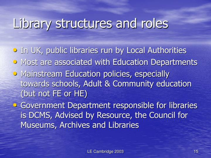 Library structures and roles