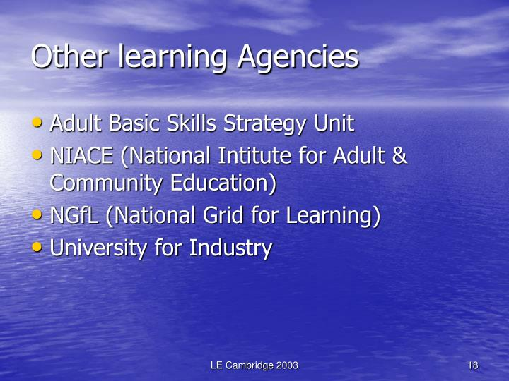 Other learning Agencies