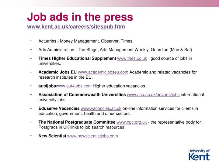 Job ads in the press