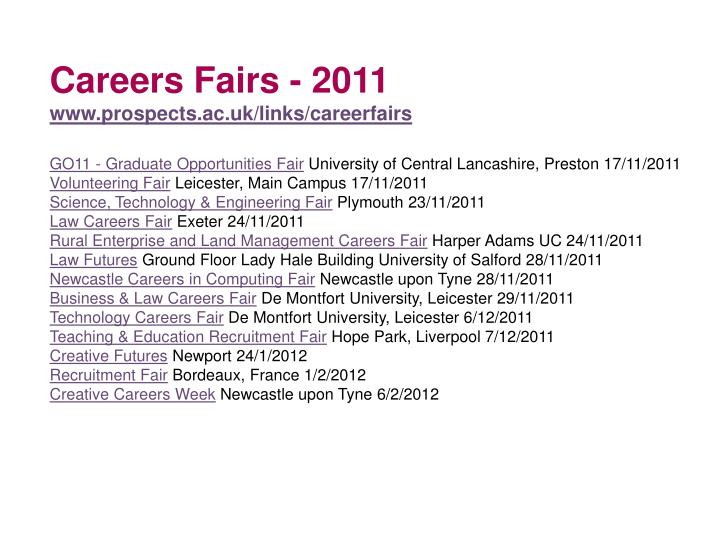 Careers Fairs - 2011